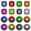 Bus button set - Set of bus glossy web buttons. Arranged layer structure.