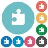 Flat puzzle icons - Flat puzzle icon set on round color background.