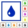 Drop framed flat icons - Set of color square framed drop flat icons on white background