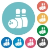 Flat bowling game icons - Flat bowling game icon set on round color background.