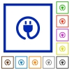 Power cord framed flat icons - Set of color square framed Power cord flat icons on white background