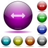 Resize horizontal glass sphere buttons - Set of color Resize horizontal glass sphere buttons with shadows.