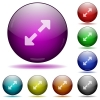 Resize full glass sphere buttons - Set of color Resize full glass sphere buttons with shadows.
