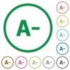 Decrease font size outlined flat icons - Set of Decrease font size color round outlined flat icons on white background