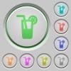 Longdrink push buttons - Set of color longdrink sunk push buttons.