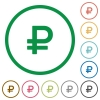 Ruble sign outlined flat icons - Set of Ruble sign color round outlined flat icons on white background