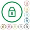 Locked padlock outlined flat icons - Set of Locked padlock color round outlined flat icons on white background