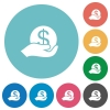 Flat save money icons - Flat save money icon set on round color background.