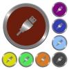 Color USB plug buttons - Set of color glossy coin-like USB plug buttons.