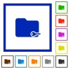 Secure folder framed flat icons - Set of color square framed Secure folder flat icons on white background