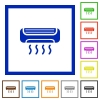 Air conditioner framed flat icons - Set of color square framed Air conditioner flat icons on white background