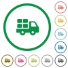 Transport outlined flat icons - Set of transport color round outlined flat icons on white background