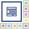 Layout framed flat icons - Set of color square framed layout flat icons on white background
