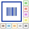 Barcode framed flat icons - Set of color square framed barcode flat icons on white background