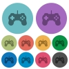 Color game controller flat icons - Color game controller flat icon set on round background.