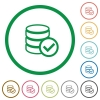 Database ok outlined flat icons - Set of database ok color round outlined flat icons on white background