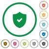 Active security outlined flat icons - Set of Active security color round outlined flat icons on white background