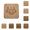 Money bags wooden buttons - Set of carved wooden Money bags buttons in 8 variations.