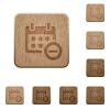 Remove from calendar wooden buttons - Set of carved wooden Remove from calendar buttons in 8 variations.