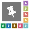 Push pin square flat icons - Push pin flat icon set on color square background.