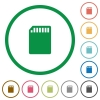 SD memory card outlined flat icons - Set of SD memory card color round outlined flat icons on white background
