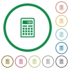 Calculator outlined flat icons - Set of calculator color round outlined flat icons on white background