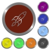 Color rocket buttons - Set of color glossy coin-like rocket buttons.