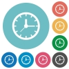 Flat clock icons - Flat clock icon set on round color background.