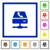 VoIP call service framed flat icons - Set of color square framed VoIP call service flat icons on white background