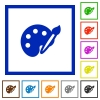 Paint framed flat icons - Set of color square framed paint flat icons on white background