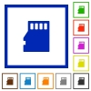 Micro SD memory card framed flat icons - Set of color square framed Micro SD memory card flat icons on white background