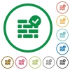Active firewall outlined flat icons - Set of active firewall color round outlined flat icons on white background