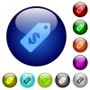 Set of color dollar price label glass web buttons. - Color dollar price label glass buttons