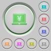 Yen laptop push buttons - Set of color Yen laptop sunk push buttons.
