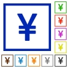 Yen sign framed flat icons - Set of color square framed yen sign flat icons on white background