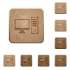 Desktop computer wooden buttons - Set of carved wooden Desktop computer buttons in 8 variations.