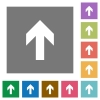 Up arrow square flat icons - Up arrow flat icon set on color square background.