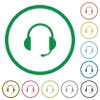 Headset outlined flat icons - Set of headset color round outlined flat icons on white background