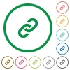 Link outlined flat icons - Set of link color round outlined flat icons on white background
