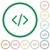 Programming code outlined flat icons - Set of programming code color round outlined flat icons on white background