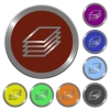 Color printing papers buttons - Set of color glossy coin-like printing papers buttons.