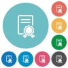 Flat certificate icons - Flat certificate icon set on round color background.