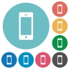 Flat cellphone icons - Flat cellphone icon set on round color background.