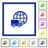 International transport framed flat icons - Set of color square framed International transport flat icons on white background