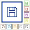 Save framed flat icons - Set of color square framed save flat icons on white background