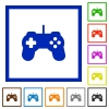 Set of color square framed Game controller flat icons on white background - Game controller framed flat icons