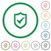 Active shield outlined flat icons - Set of Active shield color round outlined flat icons on white background