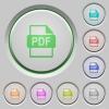 PDF file format push buttons - Set of color PDF file format sunk push buttons.