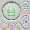 PNG file format push buttons - Set of color PNG file format sunk push buttons.