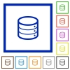 Database framed flat icons - Set of color square framed database flat icons on white background